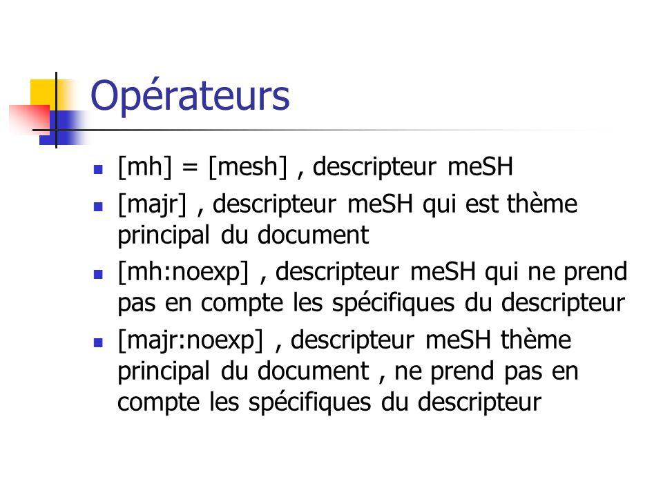 Opérateurs [mh] = [mesh] , descripteur meSH